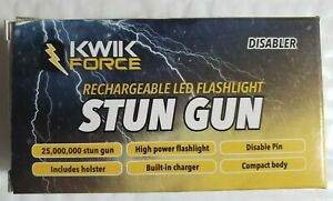 25-Mil-Volt-Black-Kwik-Force-LED-Flashlight-Stun-Gun-with-case-amp-Disable-Pin