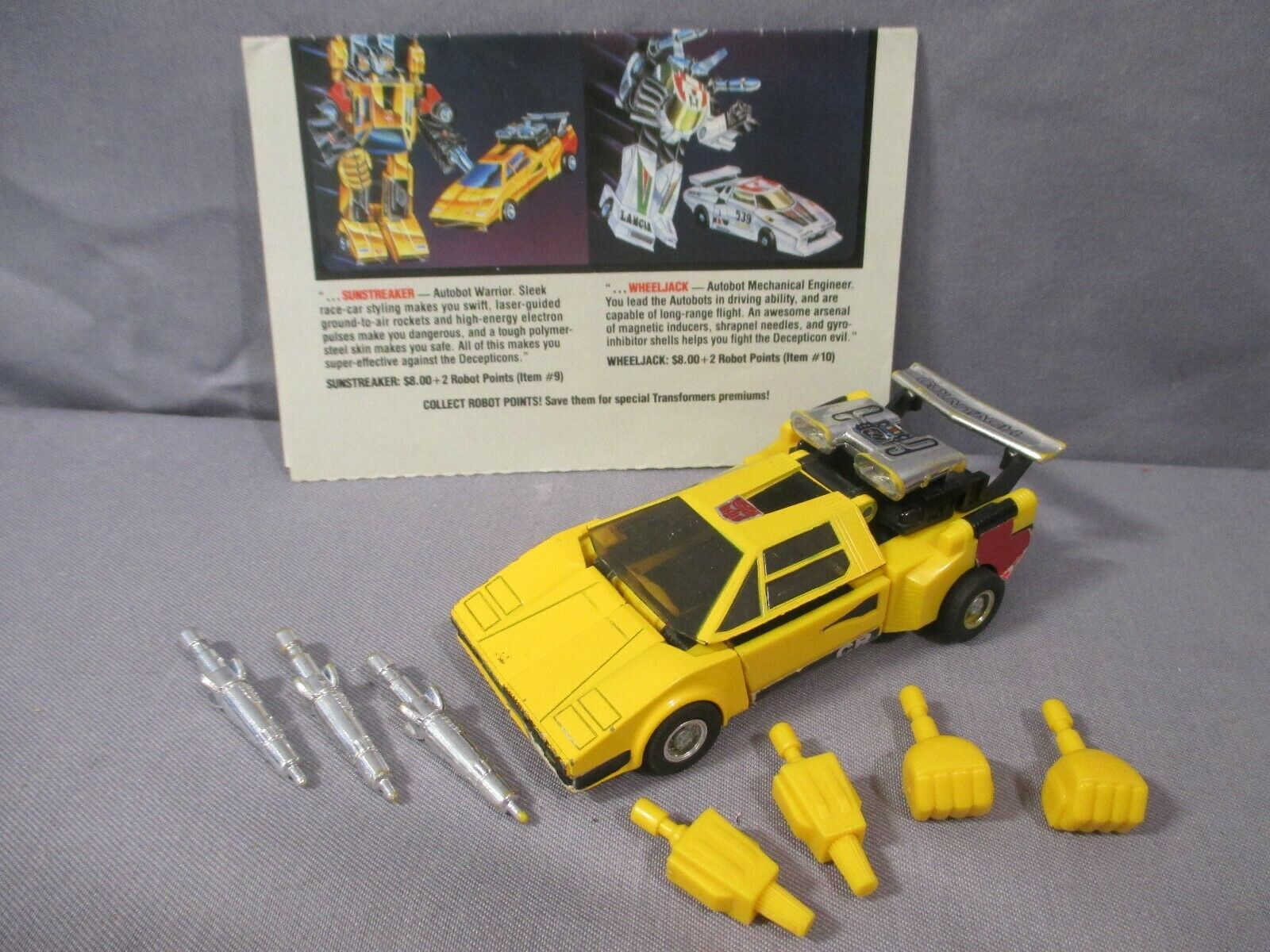Transformers G1 SUNSTREAKER Complete Carbot Car VINTAGE 1984 Authentic Takara
