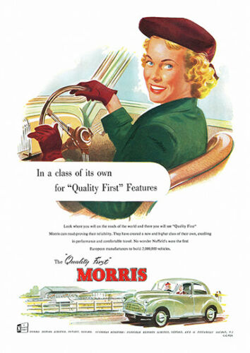 Morris Quality first Vintage Motor car advert Poster reproduction.