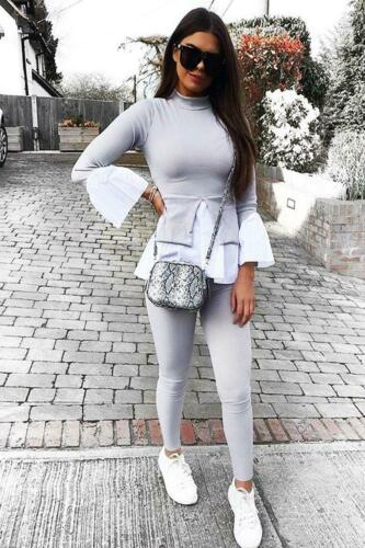 Ladies New Layered Puff Sleeve Frill Hem Jumper Two Piece Ribbed Lounge Suit Set