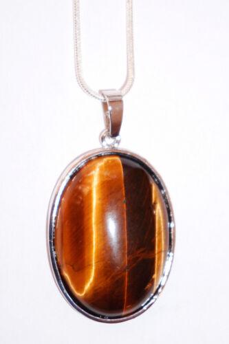 Cadena de plata con ovalem tiger ojo-remolque