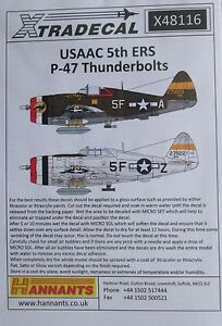 Rescue P-47 foudre Decal Set Xtradecal 1//48 X48116 USAAF 5th ERS