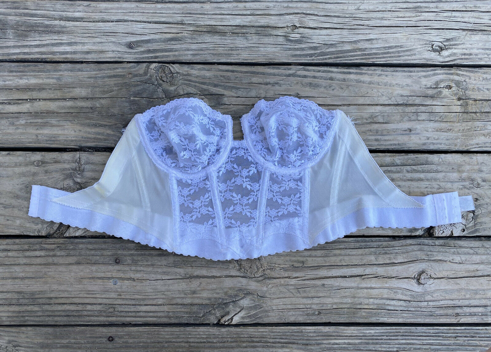 Vintage White Lace Corset Size 38C Underwire Top - image 1
