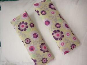 Baby Seat Belt Strap Covers Car Highchair Stroller-Purpl<wbr/>e Flowers -Gorgeous!