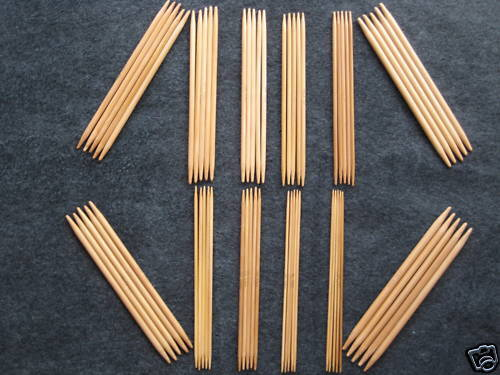 "US 0-10.5 6/"" 12 sz Bamboo Knitting Needles DP"