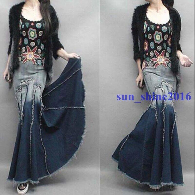 Retro Womens Tassel Washed Long Denim Jean Skirt Bodycon Mermaid Maxi Dress S-XL