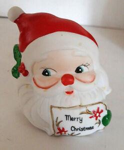 Vtg-MCM-Christmas-Santa-Claus-Napkin-Holder-Head-Merry-Card-Mid-Mod-Taiwan-Retro