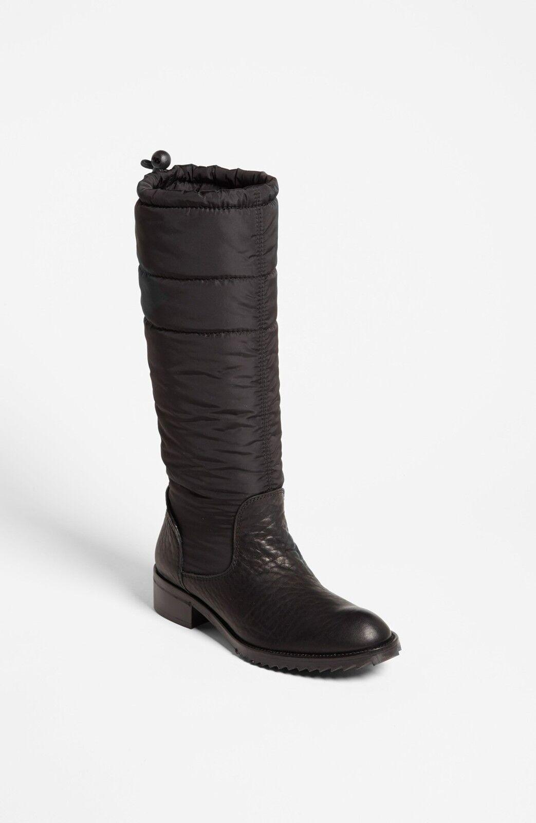 $675 Pedro Blck Garcia Ocean Blck Pedro Deer Leather Riding Boot Flat Puffer Bootie 40.5-10 acbe78