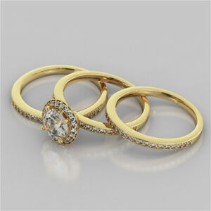 2.52 Ct Round Cut Moissanite Trio Band Set 14K Solid Yellow Gold Engagement Ring