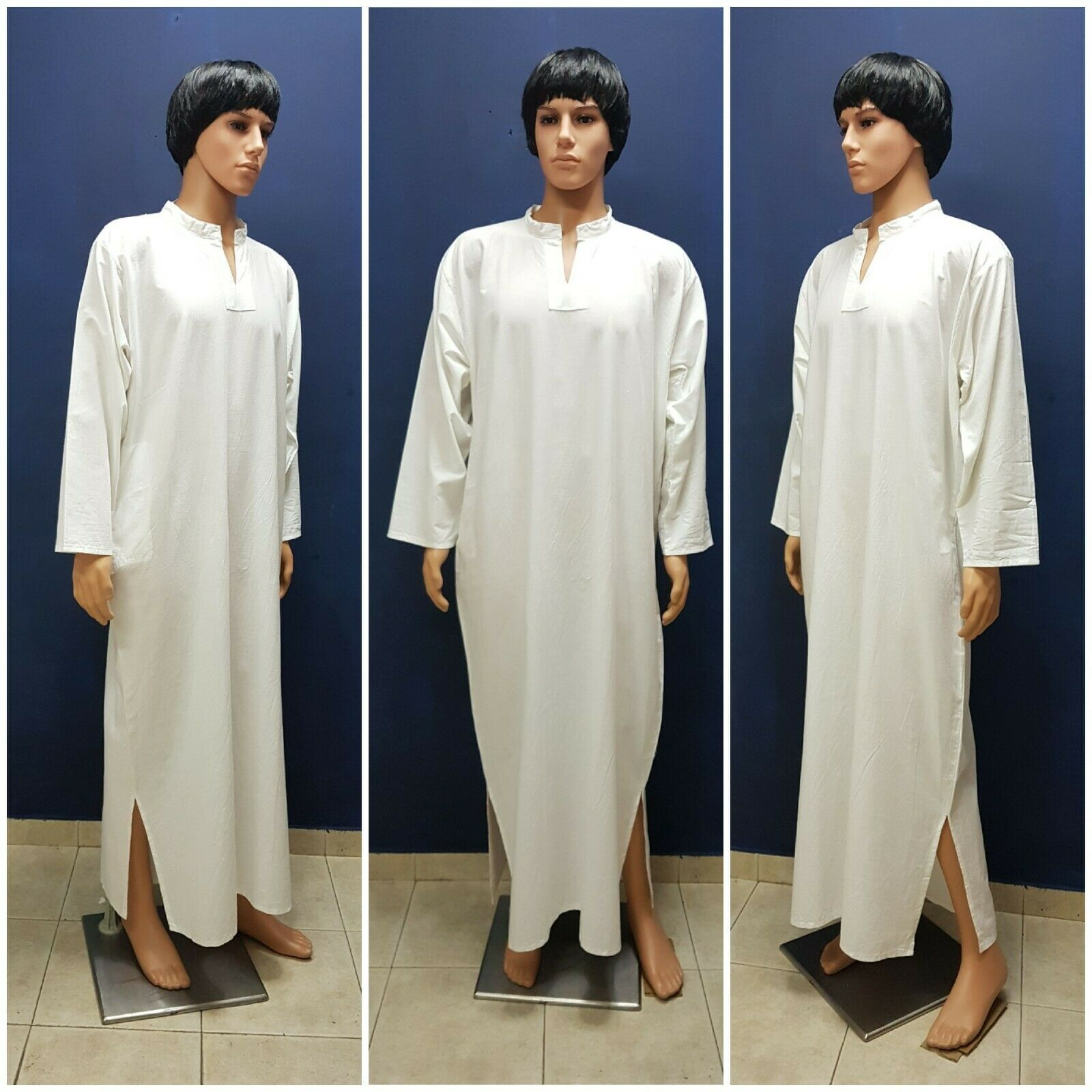 Men Jilbab Jalabiya Djellaba Kaftan WHITE COTTON Extra Large Combine Shipping!
