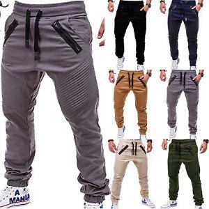 hommes-Jogger-vetements-de-sport-SLIM-MOULANT-decontracte-pantalon-sarouel