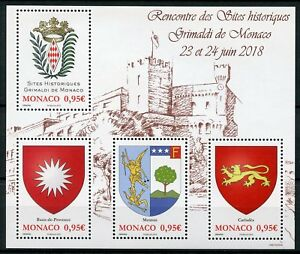 Monaco-2018-MNH-Historical-Grimaldi-Sites-4v-M-S-Emblems-Coat-of-Arms-Stamps