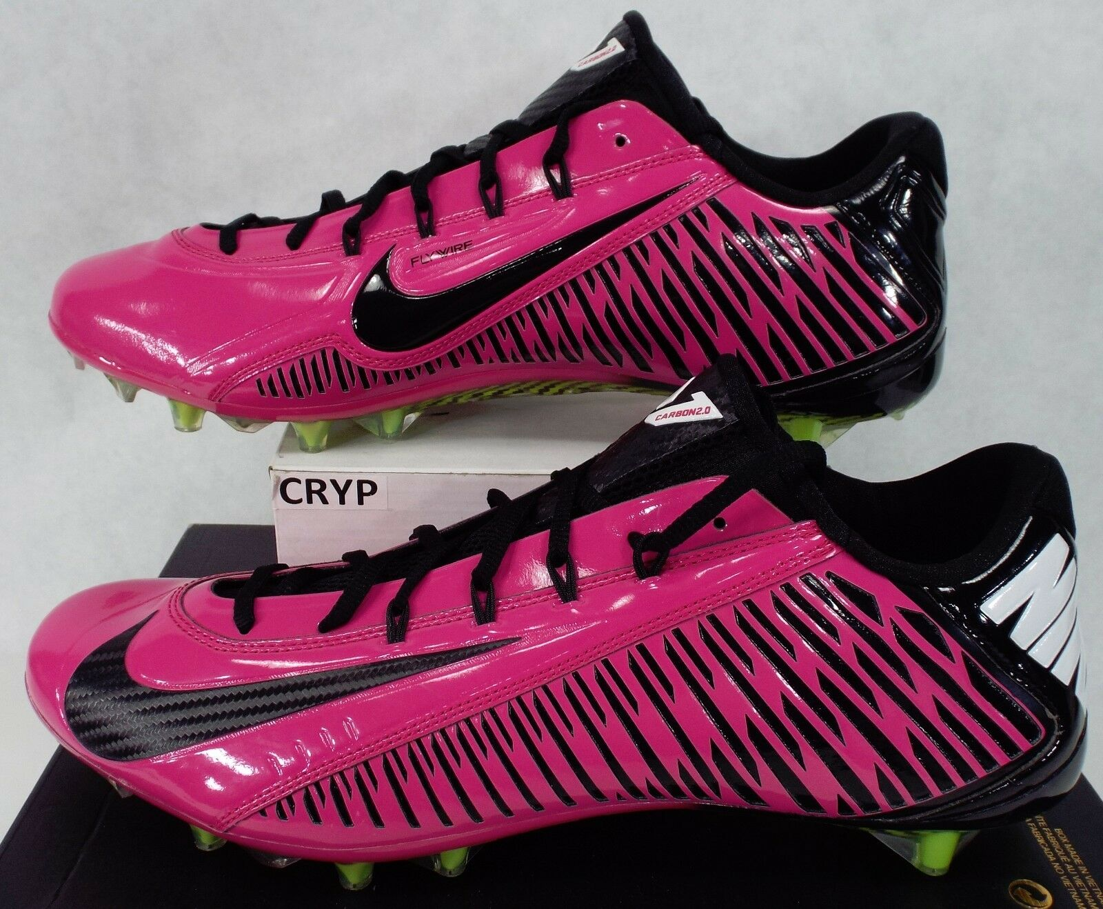 New Mens 14.5 NIKE Vapor Carbon Elite TD Pink Cancer Cleats Shoes$160 695504-610