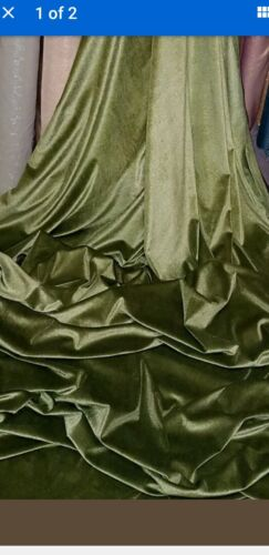3m olive GREEN  spandex lycra strech VELOUR  FABRIC 58INCES WIDE