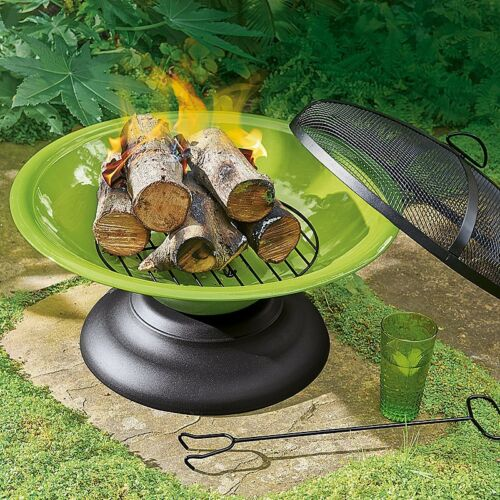 LIME GREEN FIRE PIT LARGE BBQ GRILL PORTABLE W// POKER MESH CHIMMNEA PATIO HEATER
