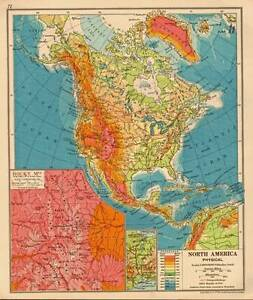 Details about North America Physical 1930 Original Antique Map Rocky  Mountains