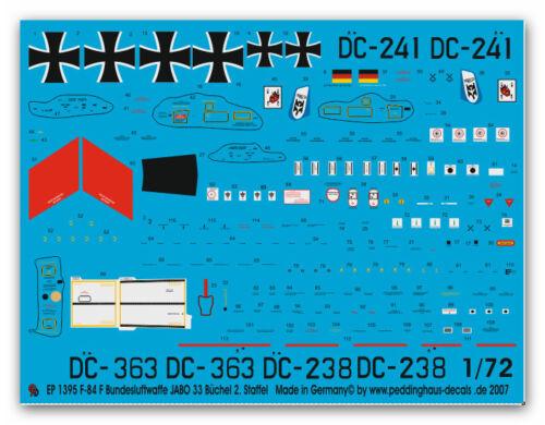 Staffel 196 Peddinghaus-Decals 1//72 1395 F-84F Bundesluftwaffe JABO 33 Büchel 2