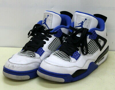 on sale 1b3de 04402 Nike Air Jordan Retro 4 Motorsport 308497-117 White Game Royal Blue US Size  9.5 | eBay