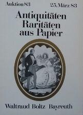 ANTIQUITÄTEN PAPIER von BOLTZ BAYREUTH 1983 auf 52 Seiten über 600 Positionen