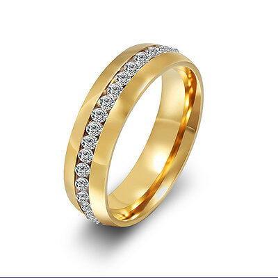 CZ Gold Stainless Steel Couple Wedding Ring Men/Women's Engagement Band Sz 4-15