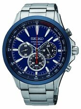 Gents Seiko Solar SSC495P1  Chronograph Watch Blue Dial Date Window . RRP £269