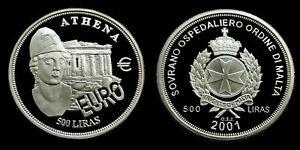 2001-Malta-Order-of-Athena-500-Liras-silber-PP-Proof-1-oz-999-silver-coin