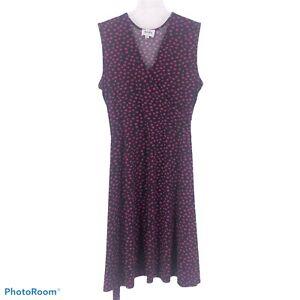 Leota Size XXL Perfect Faux Wrap Circle Printed Black Pink Sleeveless Stretch