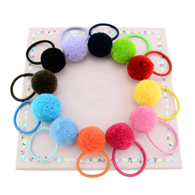 12 X Baby Girls Kids Faux Fur Ball Ties Ball Hair Rope Ring Ponytail Holder  New aca5da887b2