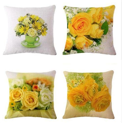 Cover Throw Cotton Home Yellow Print Cushion Linen Decor Gift Case Rose Pillow