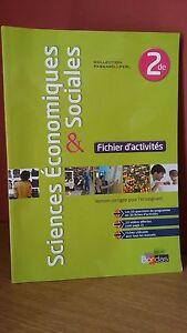 AgréAble Sciences Economiques Et Sociale 2° Fichier D'activités+ Corrigés Ed.bordas 2013 Parfait Dans L'ExéCution