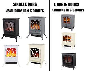 Warmlite Wingham 1/ 2-Door Portable Electric Fire Stove Heater Fireplace Log Mod