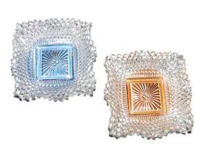 VTG-Diamond-Point-Ruffle-Edge-Square-Dish-Blue-Marigold-Color-Wash-Indiana-Glass