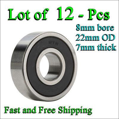 12 pcs Deep Groove 608lb NTN 608-LB 2RS Single Row Radial Ball Bearing