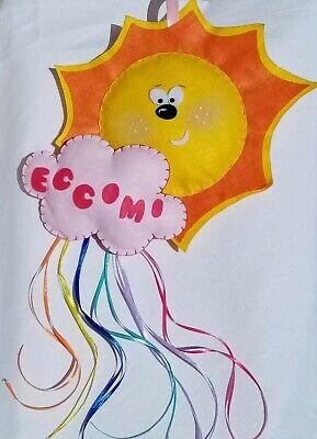 Fiocco Nascita Arcobaleno.Fiocco Nascita Personalizzato Fatto A Mano Sole Arcobaleno Nuvola Bimba Rosa Ebay