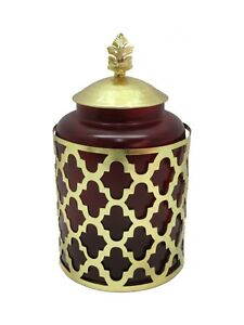 7e91c06fb941f Details about Maroon Glass and Metal Cremation Urn, Memorial Adult Human Urn  with Velvet Bag