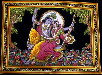 Holy Om Shiva Symbol Religious Batik Painting Sequin Wall Hanging Small ASBS001