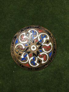 Antigua-victoriana-Antique-Victorian-Broche-Esmalte-Eduardiano-Antiguo-Pin-Circular-1900s-Rojo-Azul