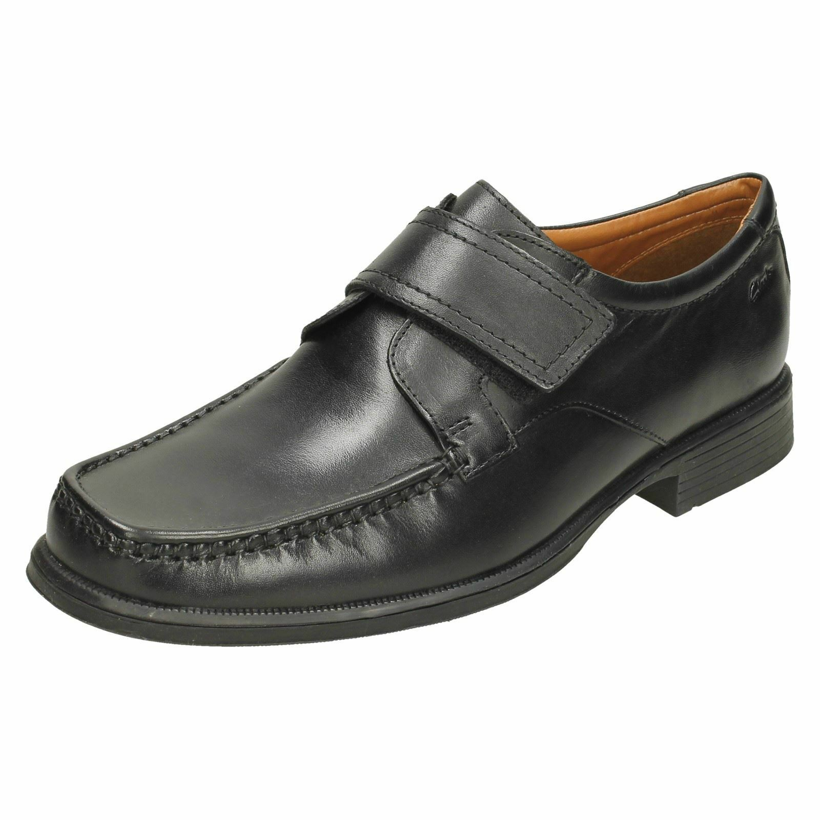 Mens Clarks Squared Toe Hook & Loop Smart Leather Moccasins Huckley Roll