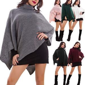 Poncho-donna-coprispalle-mantella-tricot-maglia-caldo-scialle-nuovo-AS-68112