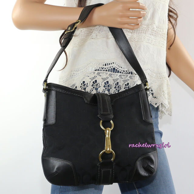 d28a5ba3800a NWT Coach Hamptons Signature Buckle Hobo Shoulder Bag Purse 11058 Black NEW