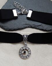 Black Velvet Choker/Necklace Clock/Watch Face Rhinestone Pendant Steampunk UK