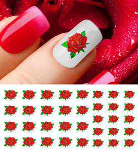 Red Rose Nail Art Waterslide Decals Salon Quality Valentines Day