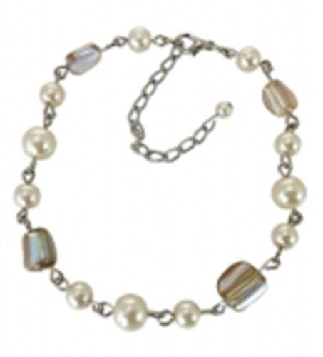 Armband Perlchen+Steinchen in creme//beige 23-18 cm