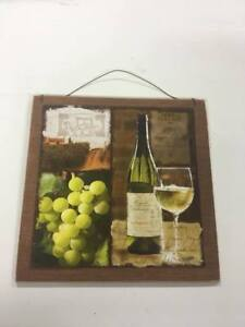 Details about white wine and grapes kitchen decor wooden wall sign tuscan  scene fruit winery