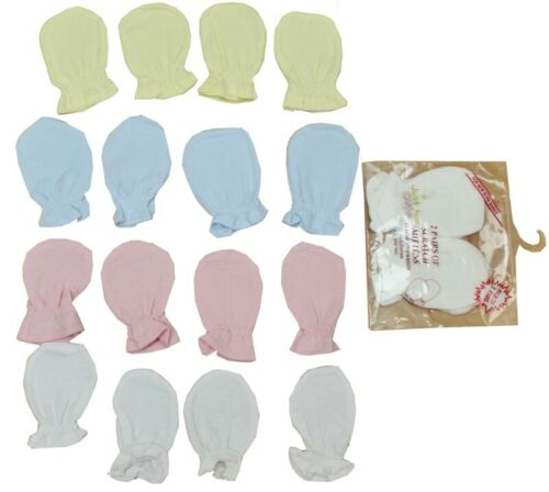 Baby Elasticated Pack of 2 Scratch Mitts Mittens Lemon Blue White Pink Unisex