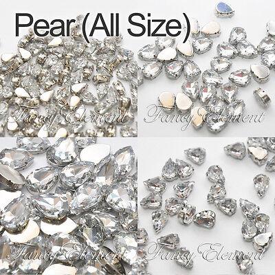 Acrylic Teardrop 4320 / 4328 Clear Crystal Silver Setting Sew On Rhinestones