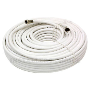 100ft Coaxial Coax Cable Wire Cord Satellite TV Dish White | eBay