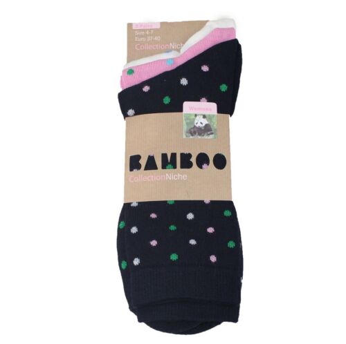 Women/'s 100/% Bamboo Socks 3-Pair Pack Cascade Multi Colour//Style