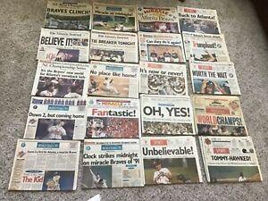 VTG-Lot-of-20-Atlanta-Braves-1991-1992-1993-1995-Newspapers-World-Champs-NLCS