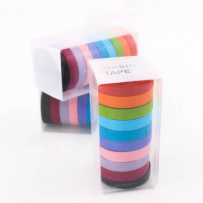 10 x Colorful Candy Masking Tape Mini Set Colour Box 8MM Washi Deco Sticky A0066